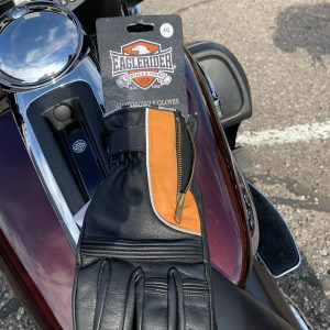 EagleRider Black and Orange Leather Glove